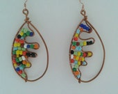 Copper Wire wrapped Colorful Beaded Afrocentric Earrings