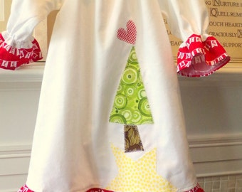 Christmas Girls Nightgown or Dress Custom Order Girls Sizes 2T,3T,4T,5.6,7,8,10 Yrs  Flannel Or Cotton Free Shipping betrueoriginals