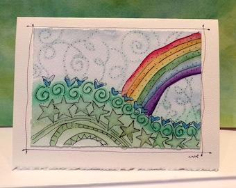"Rainbow Bend and Stretch Reach ""Big Card"" 5x7 Watercolor Original betrueoriginals"