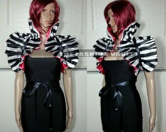 Reversible Harley Quinn or Ringmaster Dramatic Shrug Cosplay Bolero  EMO Costume Circus Masquerade Wedding