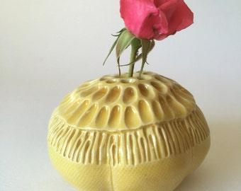 Golden Yellow Anemone Bloom Pod Vase for One Flower Ceramic Vessel