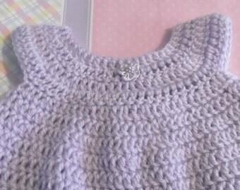Preemie Baby Crochet Dress - Soft Lilac - ready to ship