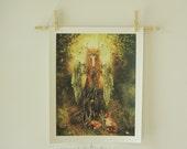 Forest Spirit 11 x 14 inch Giclee Art Print Dryad Goddess Fantasy Illustration