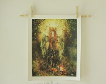 Woodland Fairy Forest 11 x 14 inch Dryad Goddess Illustration Fantasy Art Archive Quality Giclée Print, Unframed Made to Order