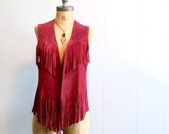 vintage 70s burgundy FRINGE suede vest S-M