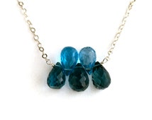 Blue Topaz and Sapphire Gemstone Necklace. Genuine Pool Blue Topaz and Dark Blue Sapphire Sterling Silver Necklace