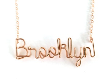 Rose Gold Brooklyn Necklace. Brooklyn Rose Gold Necklace. Urban Chic City Necklace.