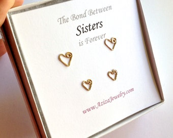 Sisters Gold Heart Studs Set. 2 Pairs 14k Gold Filled Heart Studs Set. Best Friends Gift Earrings Set.
