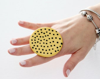 Big Ceramic Ring  - big ring  bold ring, oversize ring, handmade ring by StudioLeanne, polka dot statement jewelry