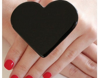 Statement Ceramic Black Heart Ring  - big ring, bold ring, fashion ring, black ring - StudioLeanne - 2.5 inch