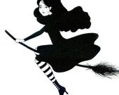 Black witch - Original artwork, ink on art paper