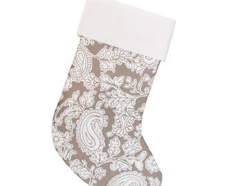 Large Christmas Stocking | Gray Paisley Stocking | Personalized Stocking Option Available | Ready To Ship | CS0025