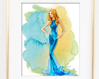 Fashion Illustration Print, Water Color, Pencil
