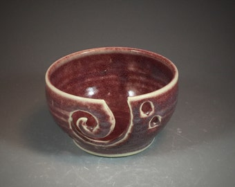 Yarn Bowl Wheel Thrown Bowl in Red Oxblood Glaze- ready to ship!