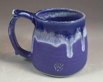 Blue Wheel Thrown Mug