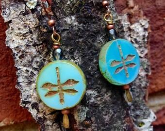 Dragonfly Czech Glass Coin Bead Earrings