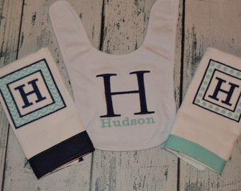 Personalized Bib and 2 Burp Cloth set Baby Gift