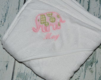 Personalized Elephant Infant Hooded Towel Monogrammed Baby Shower Gift