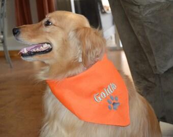 Personalized  Dog Bandana with Paw Print - Custom Colors