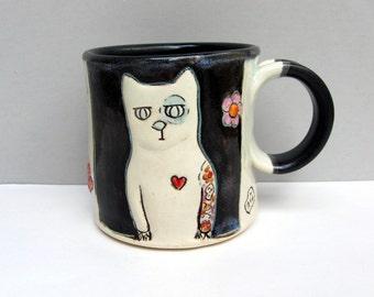 Cat Mug, Small, Black and White Kitty Mug with Tattoos, Skulls, and Flowers, Small Coffee Mug or Tea Mug, Animal Pottery, Cat Lover's Gift