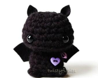 Baby Black Bat - Kawaii Mini Amigurumi Plush