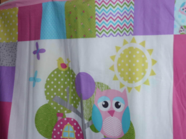 Nursery fabric quilting panel colorful owl bird tree branch 36 for Bird nursery fabric