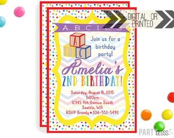 Rainbow ABC Blocks Birthday Invitation | Digital or Printed |  ABC Party | ABC Invite |  Rainbow Blocks Invite | Abc Blocks Invitation |