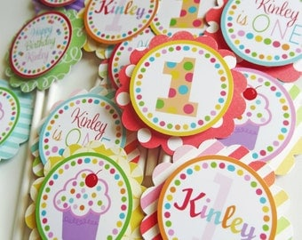 Cupcake Birthday Party Cupcake Toppers Decorations Fully Assembled