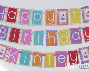 Cupcake Birthday Party Banner Fully Assembled Decorations