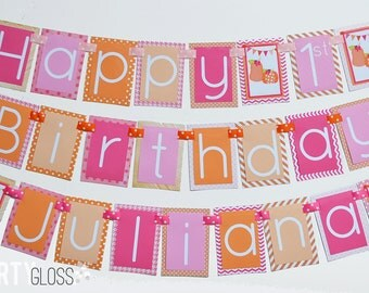 Pink and Orange Pumpkin Birthday Party Banner Decorations Fully Assembled