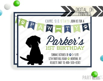 Puppy Birthday Invitation | Digital or Printed |  Puppy Party | Dog Invite |  Puppy Dog Invite | Black Puppy Invitation | Navy and Lime