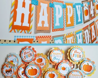 Boy Pumpkin Patch Birthday Party Decorations Fully Assembled