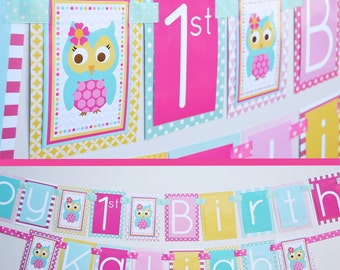 Girl Owl Birthday Party Banner Decorations Fully Assembled