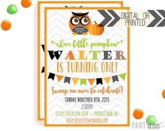 Owl Pumpkin Invitation | Digital or Printed | Pumpkin Party | Pumpkin Invite | Boy Owl Party | Fall Birthday Invitation | Little Pumpkin Boy