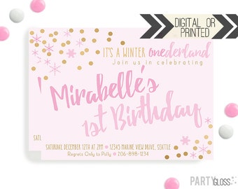 winter onederland invitation digital or printed winter onederland invitation pink gold party invitation - Winter Onederland Party Invitations