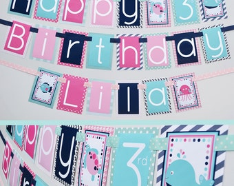 Nautical Under the Sea Birthday Party Banner Decorations Fully Assembled