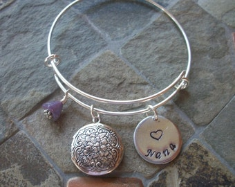 Expressions - Grammie, Memere, Meme, Nana Or Your Special Name With Brag Locket For Pictures, & Flower On An Adjustable Bangle Bracelet