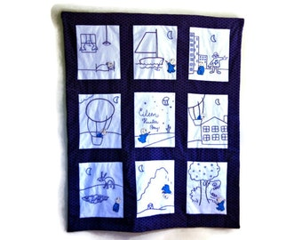 Harold and the Purple Crayon Baby Quilt Wall Hanging- Custom Personalized baby Bedding- Best Baby Gift