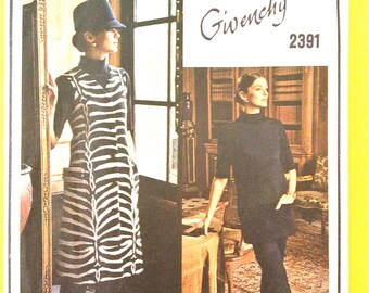 Givenchy 60s Vogue Paris Original 1947 Semi-fitted A-line midi COAT Straight-leg Pants TOP bias collar  Vintage Sewing Pattern Bust 36