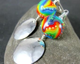 Round Rainbow Glass & Silver Disc Dangle Earrings, Colorful Earrings, Hammered Sterling Silver Earrings, Lampwork Earrings Psychedelic Pride