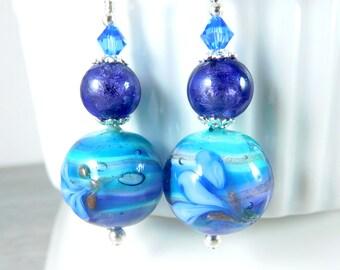 Purple Teal Blue Floral Murano Dangle Earrings, Colorful Glass Earrings, Striped Venetian Earrings Sterling Silver Jewelry Romantic Earrings