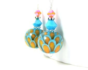 Turquoise Blue Orange Lotus Earrings, Water Lily Earrings, Flower Earrings, Botanical Earrings, Nature Dangle Earrings, Lampwork Earrings