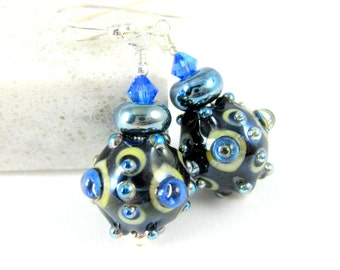 Unusual Raised Bubble Glass Dangle Earrings, Navy Blue Silver Bumpy Earrings, Lampwork Earrings Unique Jewelry Funky Earrings Weird Earrings