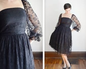 1980s Black Lace Party Dress - S/M