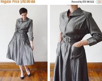 SUMMER SALE 1940s Dark Silver Zip Up Dress - S/M