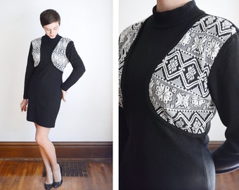 Vintage Sweater Dress Black and White - S/M