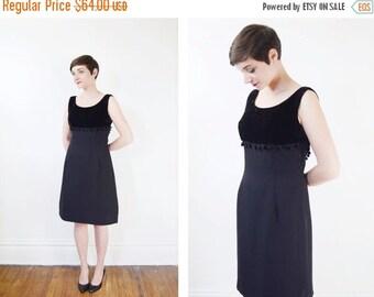 1960s Black Pom Pom Dress - M