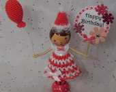 Happy Birthday - Balloon Birthday Clothespin Doll