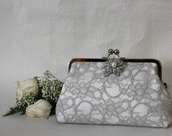 Grey Lace Clutch - Wedding Clutch - Bridal Clutch - Bridesmaid Clutch - Wedding Purse - Grey Purse - Bridesmaids Gift - Isadora Clutch