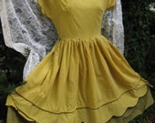 Golden Yellow and Gingham vintage rockabilly country western / southwestern dress